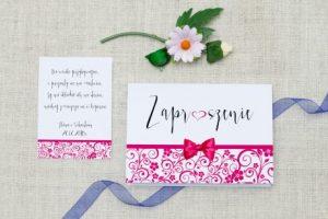 piękne różowe zaproszenie ślubne